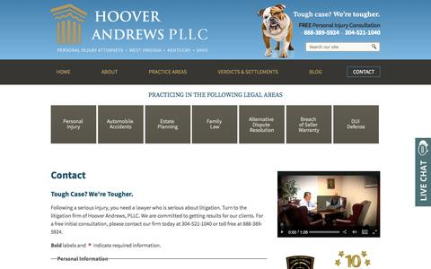 Screenshot of Contact Page hooverandrews.com - Contact Us | Barboursville, WV | Hoover Andrews PLLC - captured May 22, 2017