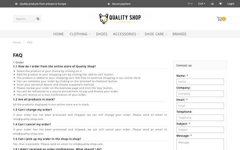 Screenshot of FAQ Page quality-shop.com - FAQ - Customer Service - Quality Shop - Quality Shop - captured Oct. 21, 2018