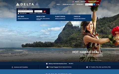 Screenshot of Home Page delta.com - Airline Tickets and Flights to Worldwide Destinations : Delta Air Lines - captured Dec. 16, 2015