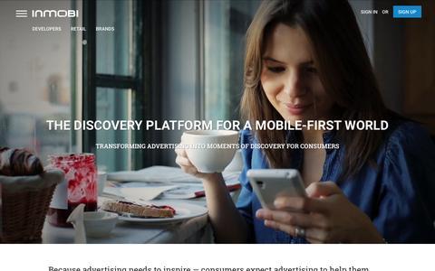 Screenshot of Home Page inmobi.com - InMobi | Mobile Discovery Commerce | Monetization | Advertising - captured Feb. 15, 2016