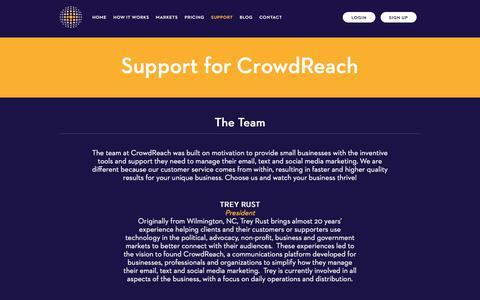 Screenshot of Support Page crowdreach.com - Customer Messaging Platform Support - Social Media Management App Support | CrowdReach - captured July 9, 2018