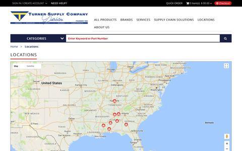 Screenshot of Locations Page turnersupply.com - Locations   TURNER SUPPLY - captured Nov. 4, 2017