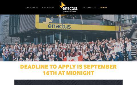 Screenshot of Signup Page enactusuottawa.ca - Apply | Enactus uOttawa - captured Nov. 5, 2018