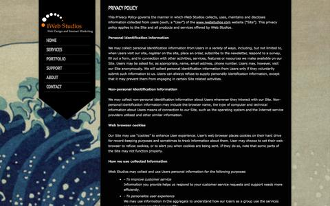 Screenshot of Privacy Page iwebstudios.com - iWeb Studios | Privacy Policy - iWeb Studios - captured Sept. 30, 2014