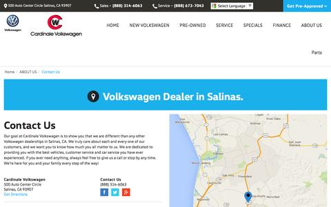 Screenshot of Contact Page Maps & Directions Page cardinalevw.com - Contact Cardinale Volkswagen in Salinas California - captured May 1, 2016