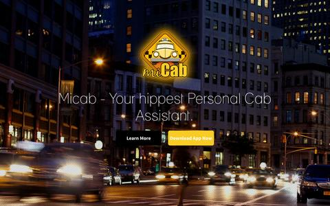 Screenshot of Home Page micab.co - ::. miCab - Your Hippest Personal Cab Assistant.... - captured Sept. 16, 2014