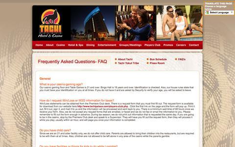 Screenshot of FAQ Page tachipalace.com - FAQ Questions about Tachi Palace Hotel & Casino   Lemoore, CA - captured Oct. 9, 2014