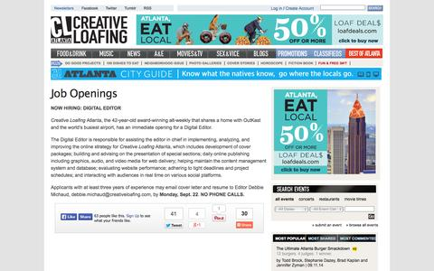 Screenshot of Jobs Page clatl.com - Job Openings | Creative Loafing Atlanta - captured Sept. 19, 2014
