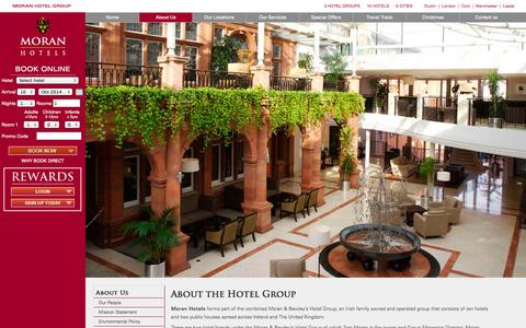 Screenshot of About Page moranhotels.com - Moran & Bewley's Hotel Group | Contemporary Hotels in Ireland & UK - captured Oct. 9, 2014