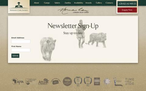 Screenshot of Signup Page normancarrsafaris.com - Sign Up | Zambia Safari | Norman Carr Safaris - captured June 14, 2017