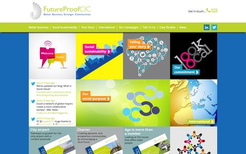 Screenshot of Home Page futureproofcic.com - Better Business, Stronger Communities - Future Proof CIC - captured Sept. 30, 2014