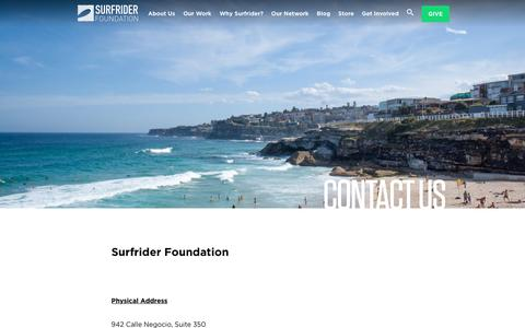 Screenshot of Contact Page surfrider.org - Contact Us - Surfrider Foundation - captured Sept. 27, 2018
