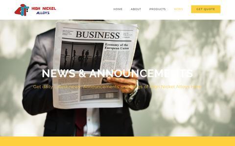 Screenshot of Press Page highnickelalloys.net - News, Announcements & Blog - High Nickel Alloys - captured Sept. 29, 2018
