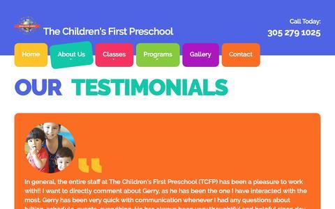 Screenshot of Testimonials Page thechildrensfirstpreschool.com - Top Preschool Miami (CFP) - captured Jan. 4, 2017
