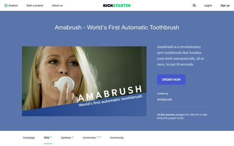 Screenshot of FAQ Page kickstarter.com - Amabrush - World's First Automatic Toothbrush by Amabrush —  Kickstarter - captured Oct. 16, 2017