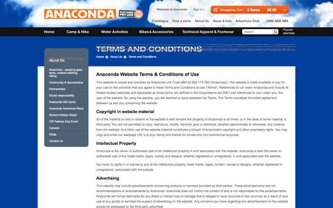 Screenshot of Terms Page anaconda.com.au - Terms and Conditions - captured Sept. 22, 2014