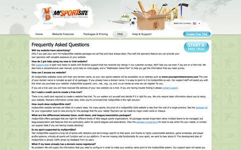 Screenshot of FAQ Page mysportsite.com - Frequently Asked Questions - mySportSite - captured Oct. 7, 2014