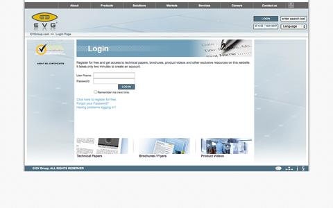 Screenshot of Login Page evgroup.com - EVG|Login Page - captured Oct. 1, 2014