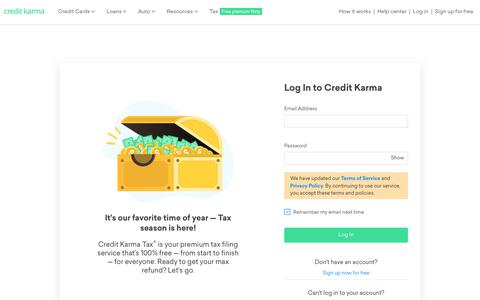 Screenshot of Login Page creditkarma.com - Log in - Free Credit Score &  Free Credit Reports With Monitoring | Credit Karma | Credit Karma - captured March 4, 2019