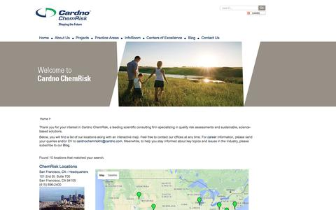 Screenshot of Contact Page Locations Page cardnochemrisk.com - Contact Us - captured Dec. 7, 2015