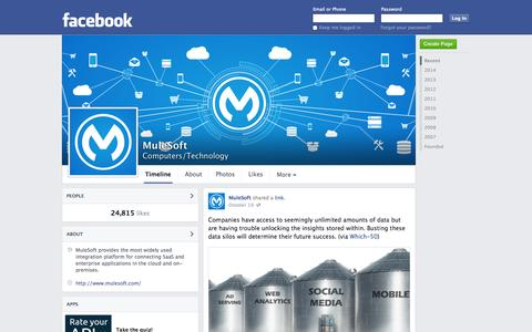 Screenshot of Facebook Page facebook.com - MuleSoft - San Francisco, California - Computers/Technology   Facebook - captured Oct. 22, 2014