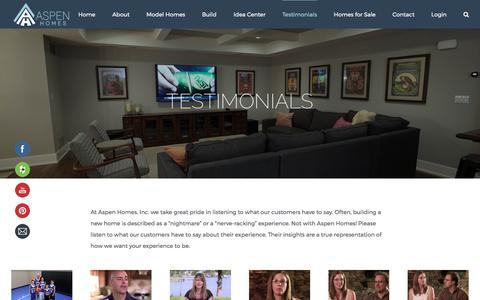 Screenshot of Testimonials Page aspenhomesinc.com - Testimonials - Aspen Homes Inc. - captured May 30, 2017