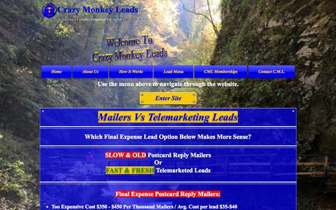 Screenshot of Home Page crazymonkeyleads.com - Exclusive Final Expense Leads - captured Sept. 30, 2014