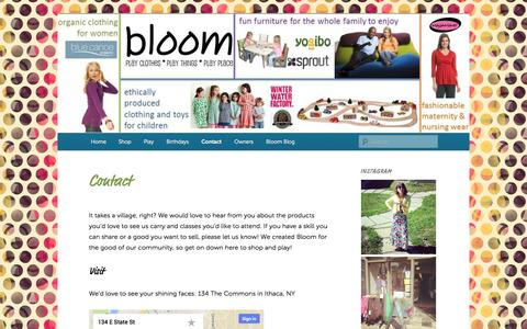 Screenshot of Contact Page bloominithaca.com - Contact | Bloom - captured Sept. 30, 2014