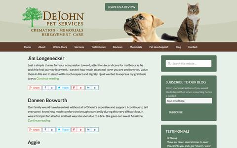 Screenshot of Testimonials Page dejohnpetservices.com - Testimonials - DeJohn Pet Cremation - Pet Loss Support and Crematory - Ohio - captured Aug. 6, 2018