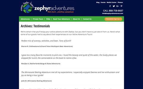 Screenshot of Testimonials Page zephyradventures.com - Testimonials Archive - Zephyr Adventures - captured June 18, 2017