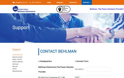 Screenshot of Support Page behlman.com - Contact Behlman - captured Oct. 5, 2018