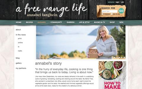 Screenshot of About Page annabel-langbein.com - Annabel Langbein – The Free Range Cook - captured June 28, 2017
