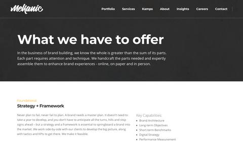 Screenshot of Services Page mekanic.com - What we have to offer – Mekanic - captured Nov. 19, 2018