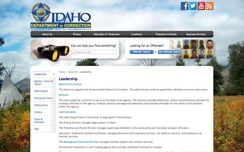 Screenshot of Team Page idaho.gov - Leadership | Idaho Department of Correction - captured Sept. 25, 2014