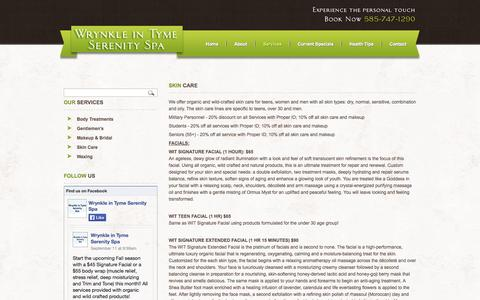 Screenshot of Services Page wrynkleintymeserenityspa.com - Wrynkle in Tyme Serenity Spa - Skin Care - captured Oct. 7, 2014