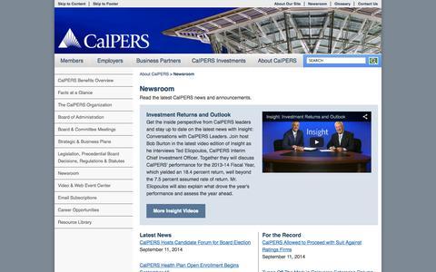 Screenshot of Press Page ca.gov - Newsroom - captured Sept. 13, 2014