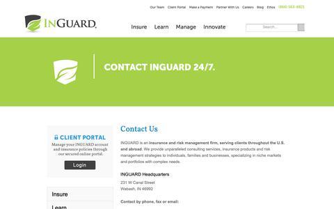 Screenshot of Contact Page inguard.com - Contact - captured Oct. 25, 2018