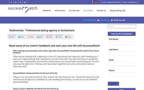 Screenshot of Testimonials Page successmatch.ch - Testimonials * Professional dating agency in Switzerland - captured Dec. 6, 2016