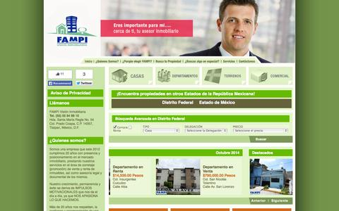 Screenshot of Home Page fampi.com.mx - FAMPI Visión Inmobiliaria  - Casas Departamentos Terrenos Oficinas - - captured Oct. 5, 2014