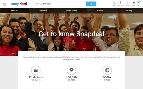 Screenshot of About Page snapdeal.com - Snapdeal Promotions - captured Dec. 2, 2015