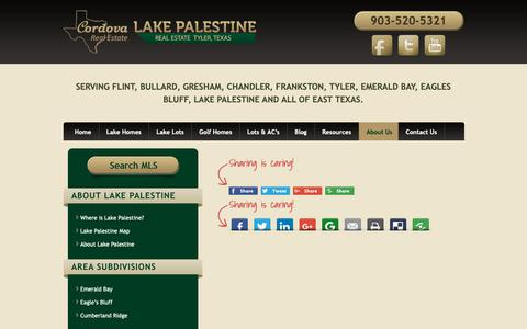 Screenshot of About Page lakepalestinetx.com - About Us - Waterfront Properties & Golf Course Homes in the Lake Palestine area - captured Sept. 29, 2018