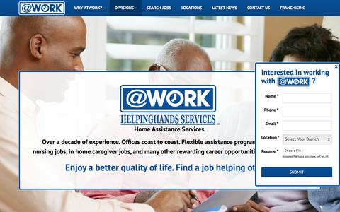 Screenshot of atwork.com - Home Health Aide Jobs | Home Health Nursing Jobs - captured May 24, 2016