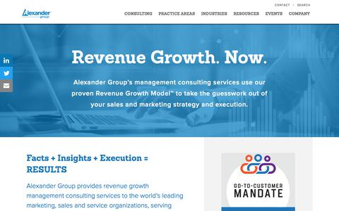 Screenshot of Home Page alexandergroup.com - Revenue growth through sales | Strategy Structure Management - captured Oct. 21, 2017