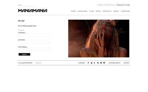 Screenshot of Signup Page themaniamania.com - Join Newsletter   Maniamania - captured Oct. 3, 2014
