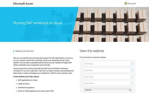 Screenshot of Landing Page microsoft.com - Running SAP workloads on Azure - captured Sept. 26, 2016