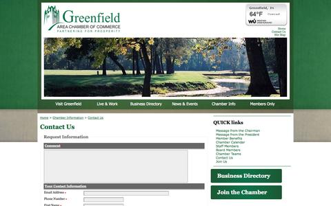 Screenshot of Contact Page greenfieldcc.org - Contact Us | Greenfield Area Chamber of Commerce | Greenfield, IN - captured Oct. 3, 2014
