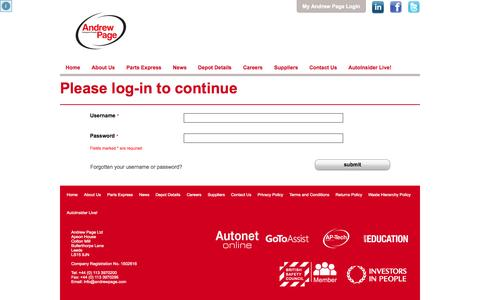 Screenshot of Login Page andrewpage.com - Andrew Page | Quality Car Parts Supplier for all Vehicle Makes and Models - Login page - captured Oct. 22, 2014