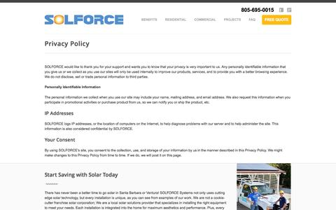 Screenshot of Privacy Page solforcesolar.com - Solforce Solar Energy - Privacy Policy - captured Oct. 6, 2014