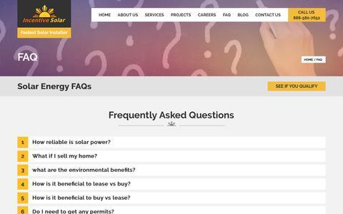 Screenshot of FAQ Page incentivesolar.com - FAQ - IncentiveSolar.com - captured Aug. 5, 2016
