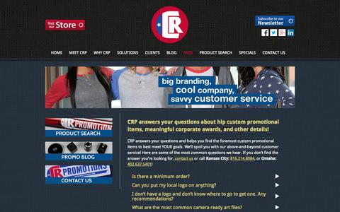 Screenshot of FAQ Page crpromotionsrule.com - custom promotional items | corporate awards | corporate gifts - captured Oct. 1, 2014